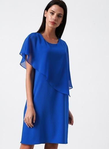 Random Şifon Detaylı Kısa Elbise Mavi